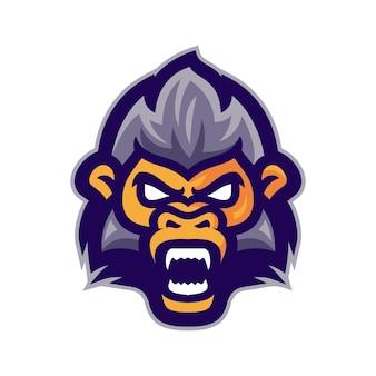 Tête de singe en colère logo vectoriel mascotte