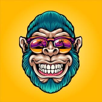 Tête de singe cool au paradis