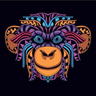 Tête de singe de couleur néon brillant