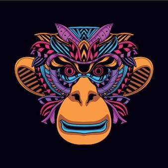 Tête de singe décorative de couleur néon brillant
