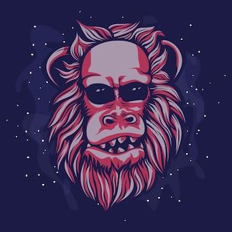 Tête de singe rouge poilue et chauve