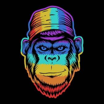 Tête de singe sourire illustration colorée
