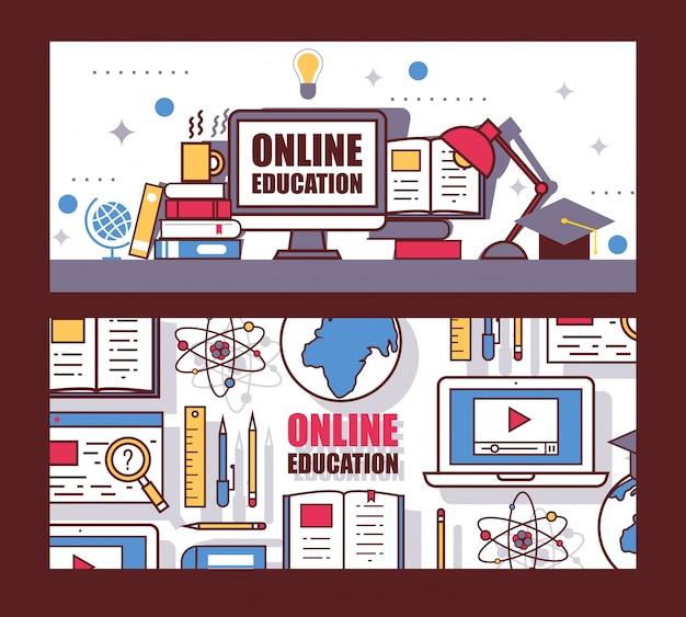 En-tête de site web d'éducation en ligne