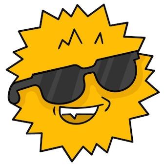Tête de soleil d'été portant des lunettes de soleil cool, émoticône de carton d'illustration vectorielle. dessin d'icône de griffonnage