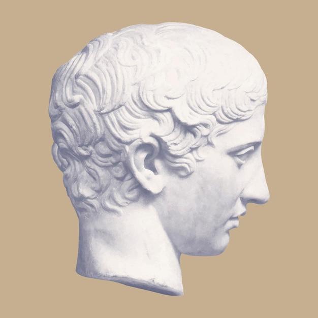 Tête de statue de la jeunesse dieu grec poste esthétique