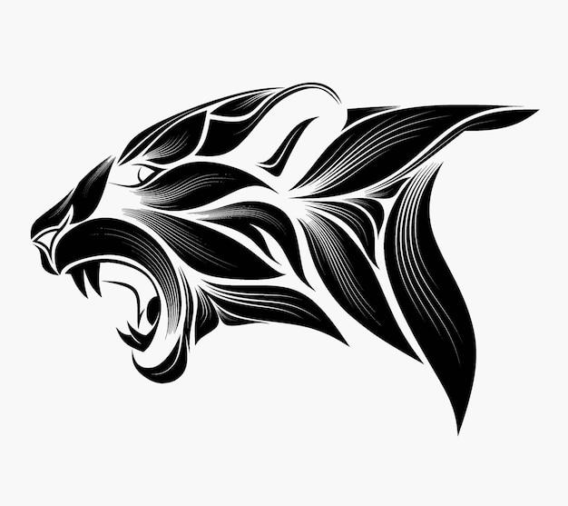 Tête stylisée d'un tigre dans le style de zentangle.