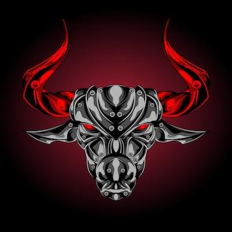 Tête de taureau d'argent en colère