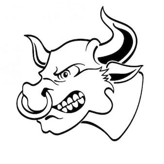 Tête de taureau en colère à la vue latérale