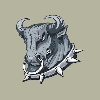 Tête de taureau dans un dessin à main levée monocolor col clouté.