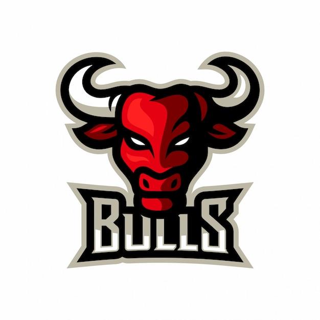 Tête de taureau mascotte logo modèle esport vector illustration
