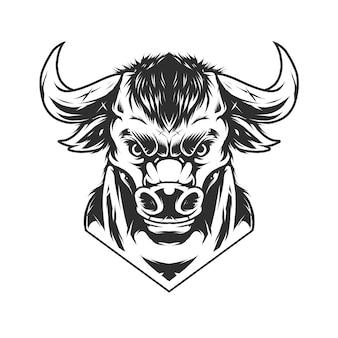 Tête de taureau vintage dans un style monochrome