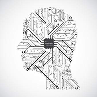 Tête de la technologie informatique dans une puce de circuit électronique.