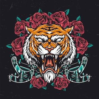 Tête de tigre agressive colorée