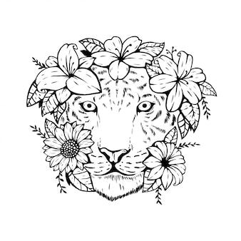 Tête de tigre animal avec motif floral