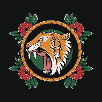 Tête de tigre en colère avec cadre de fleurs pour la conception de tatouages et de t-shirts