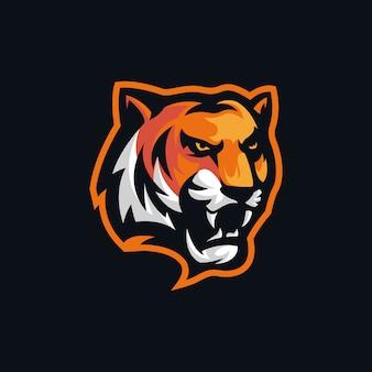 Tête de tigre en colère logo