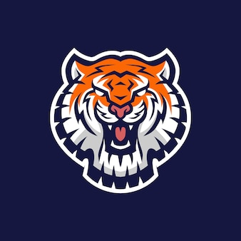 Tête de tigre e sport logo icône illustration