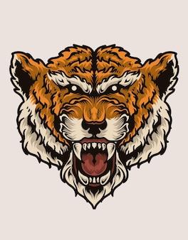 Tête de tigre effrayant d'illustration sur la surface blanche