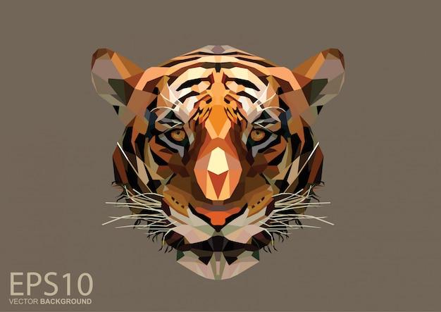 Tête de tigre à faible polygone
