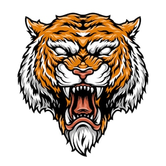 Tête de tigre forte et agressive colorée