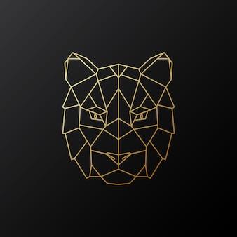 Tête de tigre géométrique dorée.
