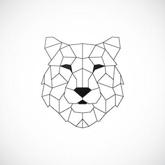 Tête de tigre géométrique style polygonal abstrait