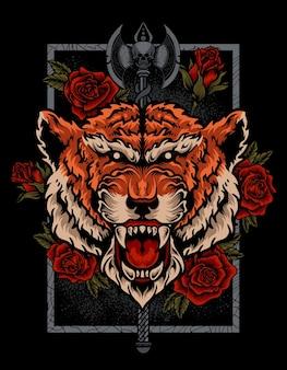 Tête de tigre d'illustration avec l'arme de rose et de hache