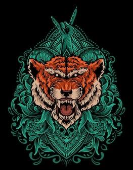 Tête de tigre d'illustration avec ornement de gravure vintage