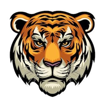 Tête de tigre isolé sur blanc