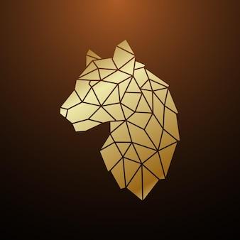 Tête de tigre d'or dans un style géométrique