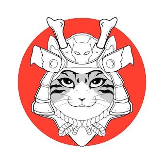 Tête de tigre samouraï japonais noir et blanc