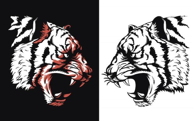 Tête de tigre silhouette rugissant sideview icône logo illustration sur le style noir et blanc
