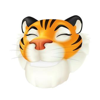 Tête de tigre souriante de dessin animé mignon. symbole du zodiaque de l'année par le calendrier chinois. illustration drôle de vecteur d'un personnage animal sauvage rayé isolé sur fond blanc. icône 3d