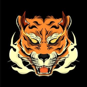 Tête de tigre de style japonais pour les imprimés de t-shirts
