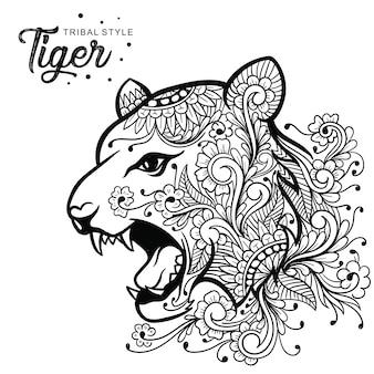Tête de tigre style tribal dessiné à la main