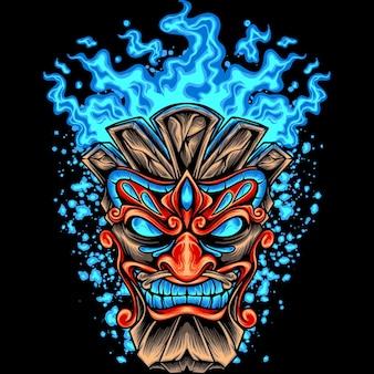 Tête de tiki avec feu bleu