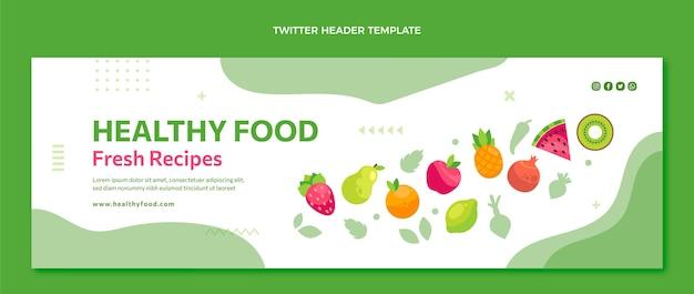 En-tête de twitter alimentaire design plat