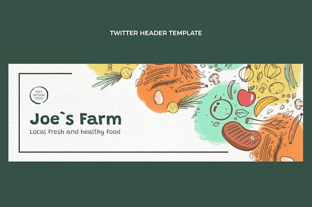 En-tête de twitter alimentaire dessiné à la main