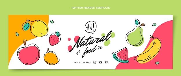 En-tête de twitter alimentaire naturel dessiné à la main