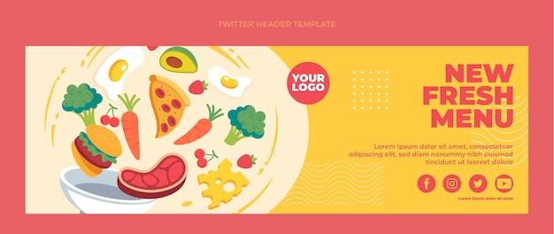 En-tête de twitter alimentaire plat