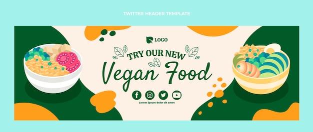 En-tête de twitter alimentaire végétalien design plat