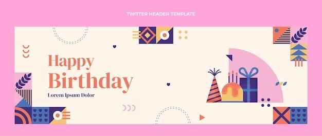En-tête de twitter anniversaire mosaïque design plat
