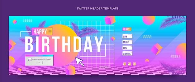 En-tête de twitter anniversaire vaporwave rétro dégradé