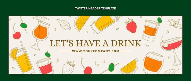 En-tête de twitter boisson délicieuse dessinés à la main