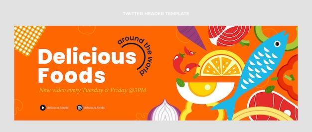 En-tête de twitter de délicieux plats au design plat