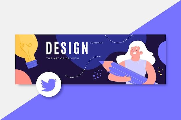 En-tête de twitter design coloré dessiné à la main