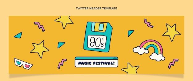 En-tête twitter du festival de musique des années 90 dessiné à la main