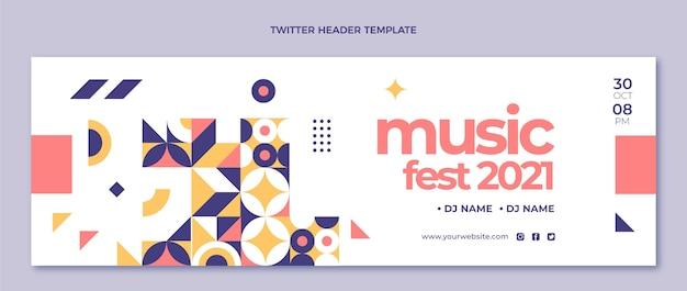 En-tête twitter du festival de musique en mosaïque design plat