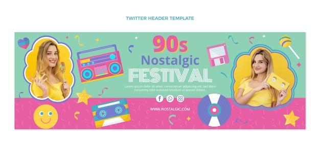 En-tête twitter du festival de musique nostalgique des années 90 au design plat