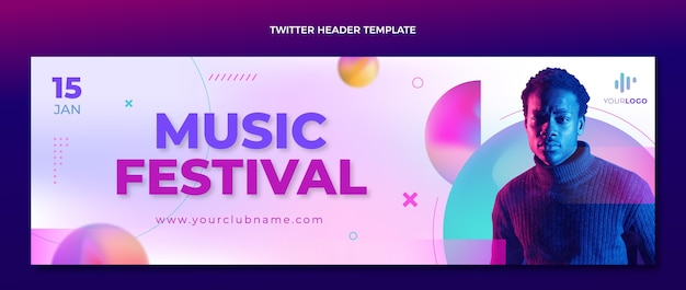 En-tête twitter du festival de musique à texture dégradée